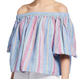 Frame denim off the shoulder stripe top